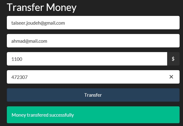 Money Transfer Successfully
