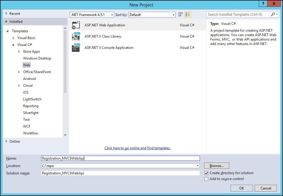 ASPNET5 New project